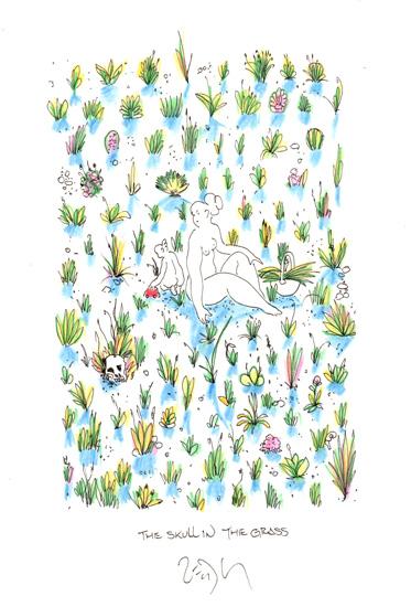 """The skull in the grass - La tête de mort dans l'herbe"""