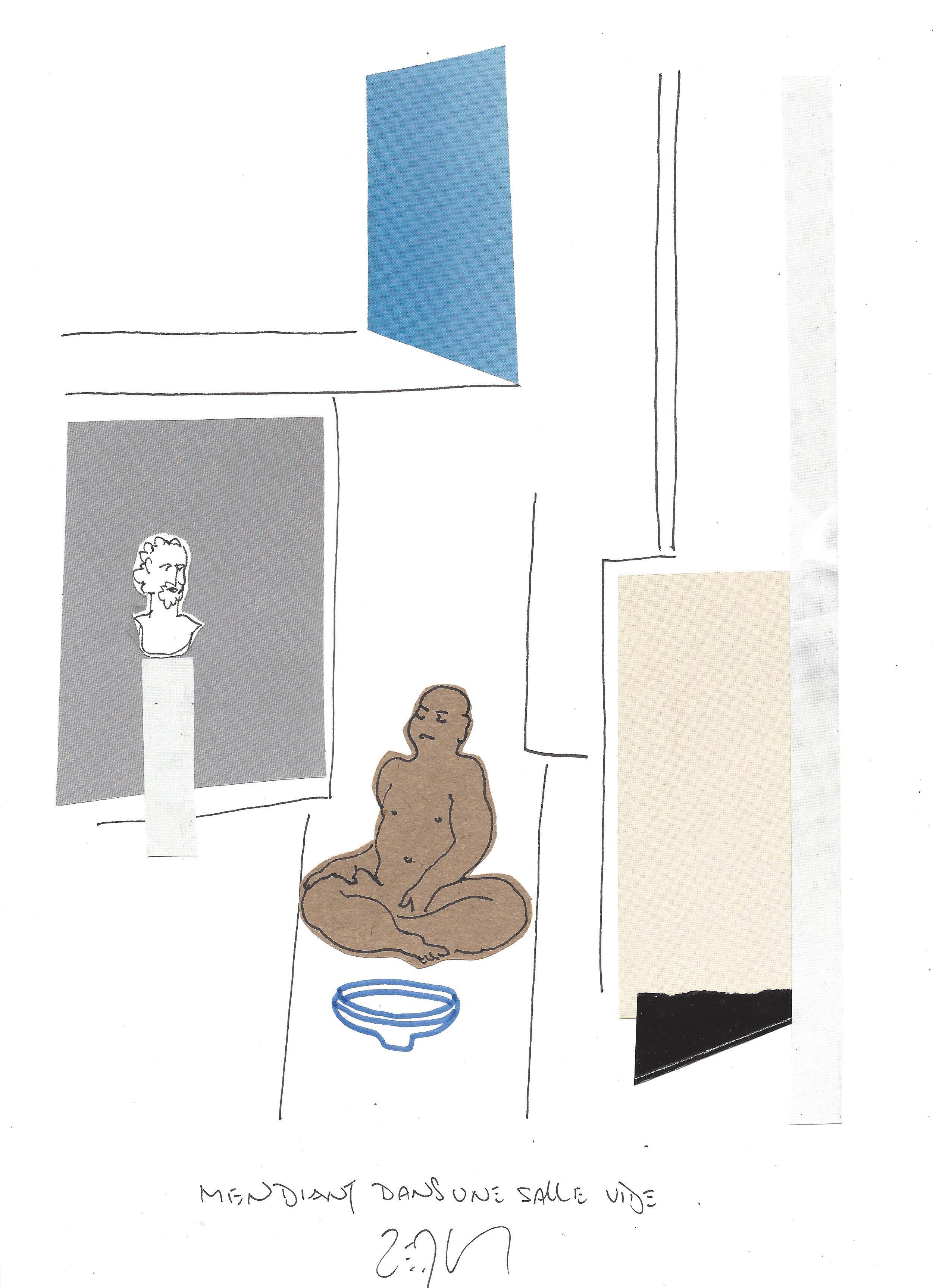« Beggar in an empty room – Mendiant dans une salle vide »