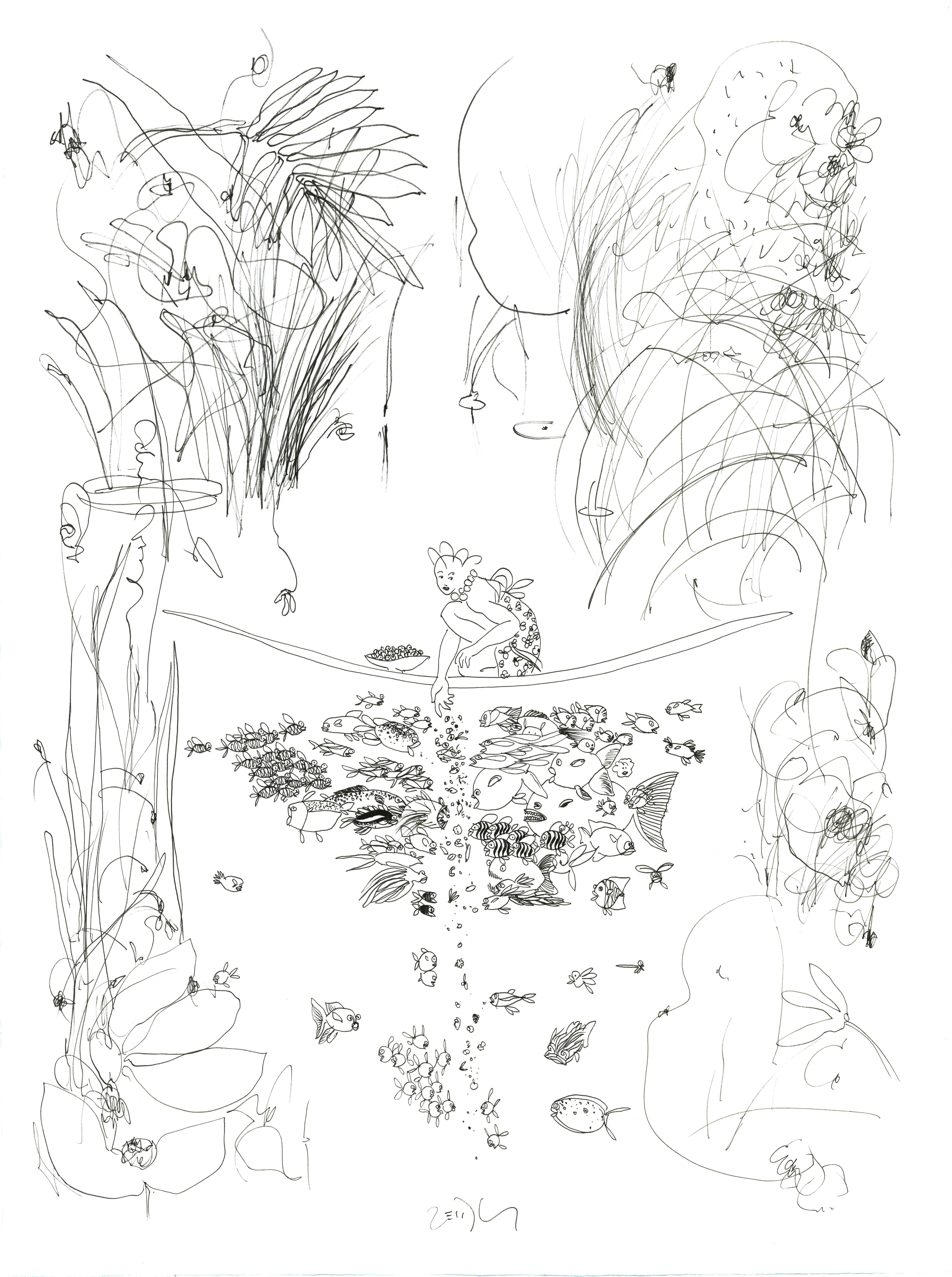 La pêcheuse nourrit les poissons - Encre sur papier - 80 x 106 cm - 1000 €