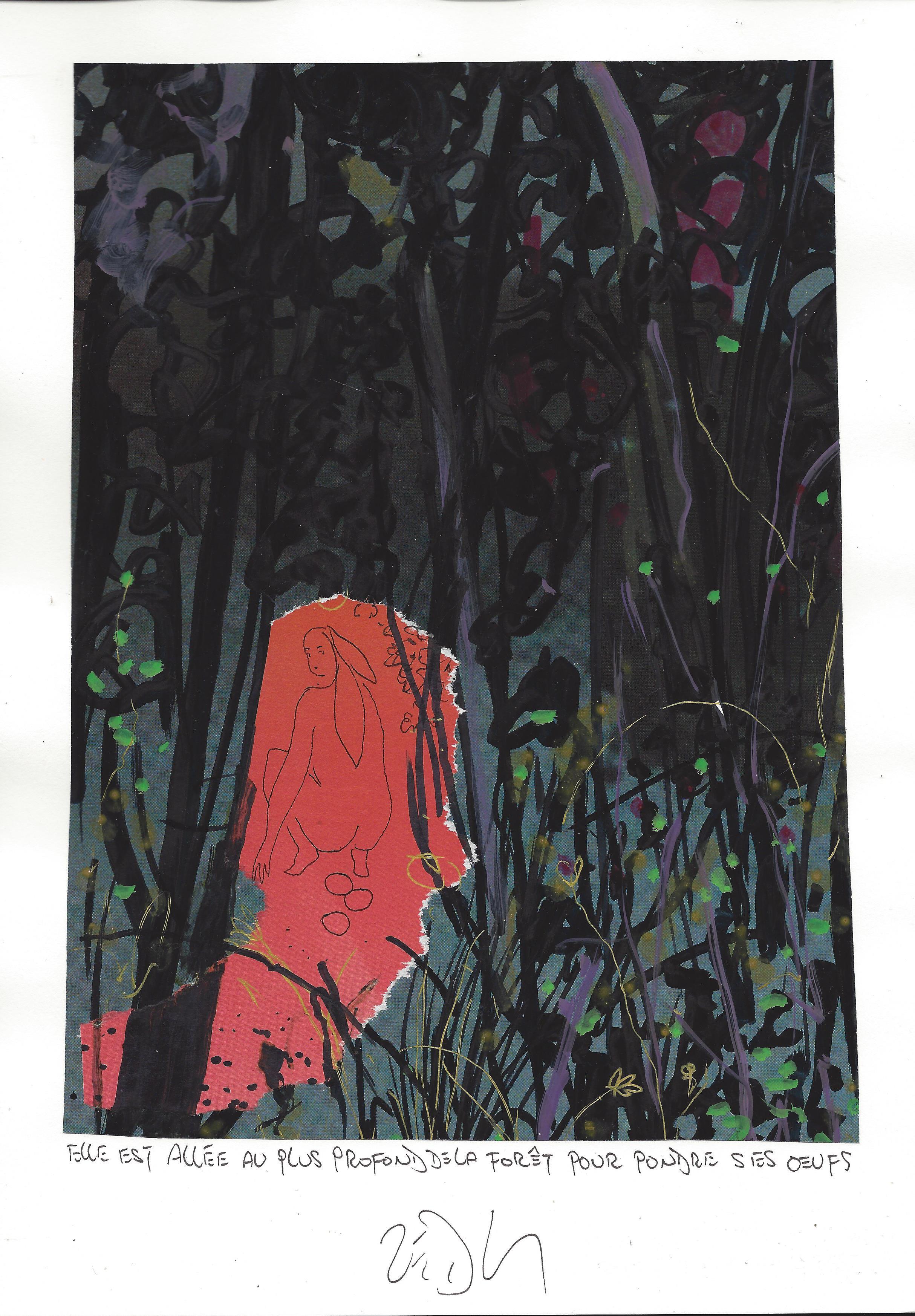 « She went deep into the forest to lay her eggs – Elle est allée au plus profond de la forêt pour pondre ses œufs »