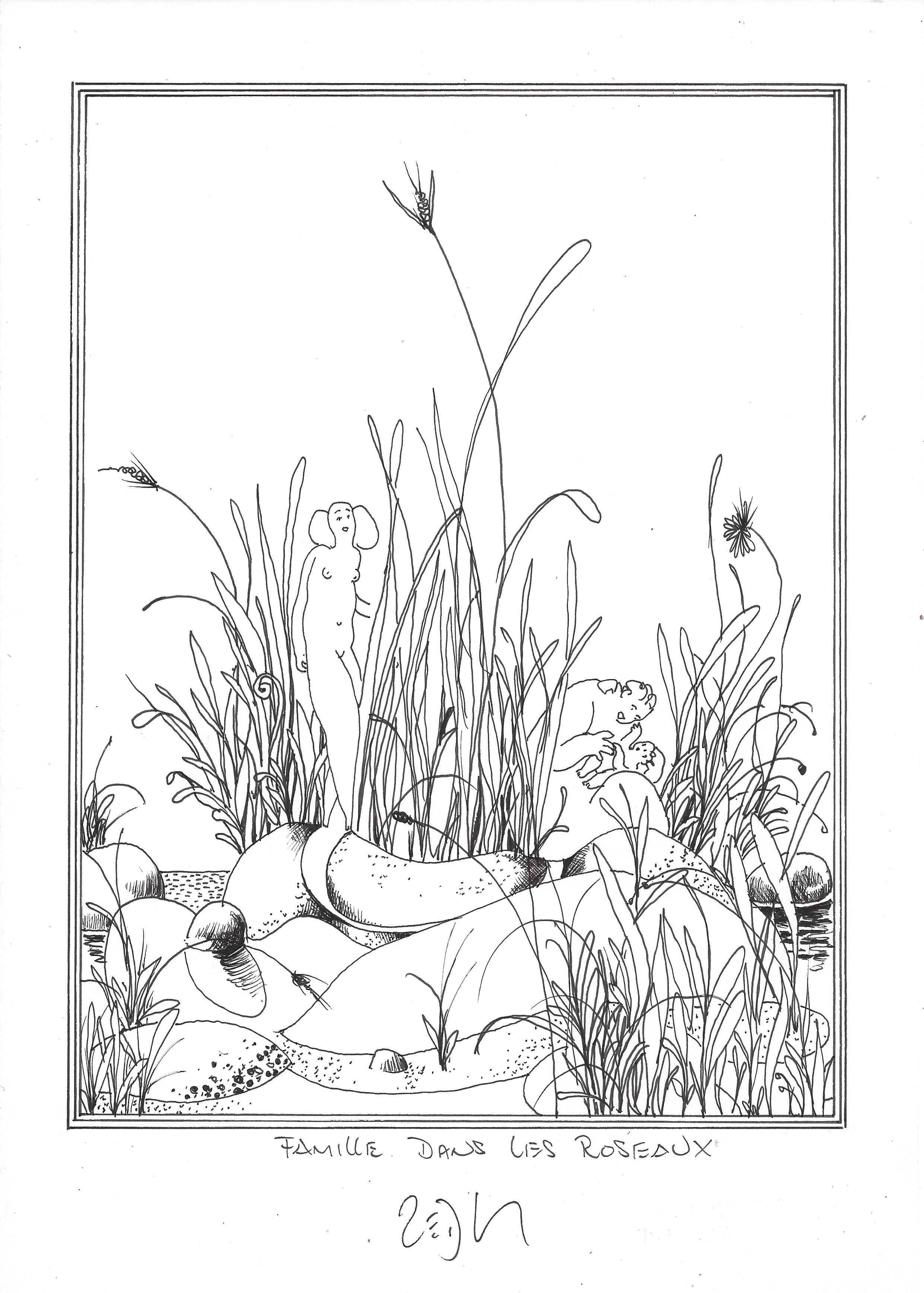 « Family among the reeds – Famille dans les roseaux »