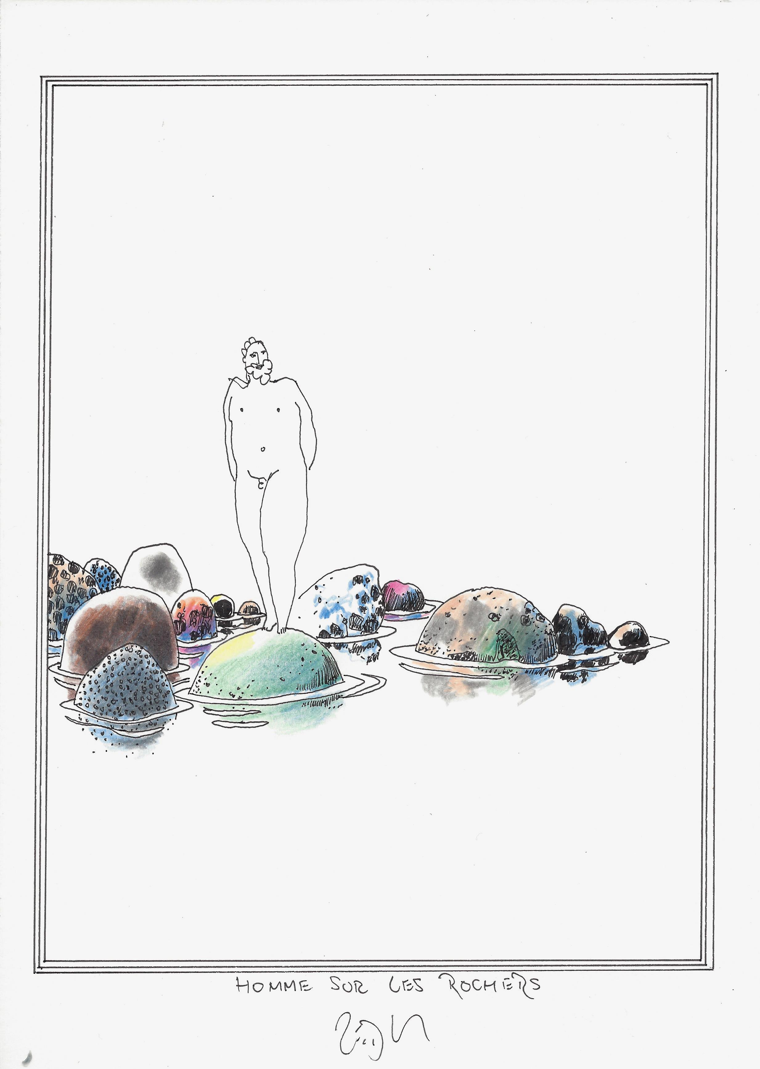« Man on the rocks – Homme sur les rochers »