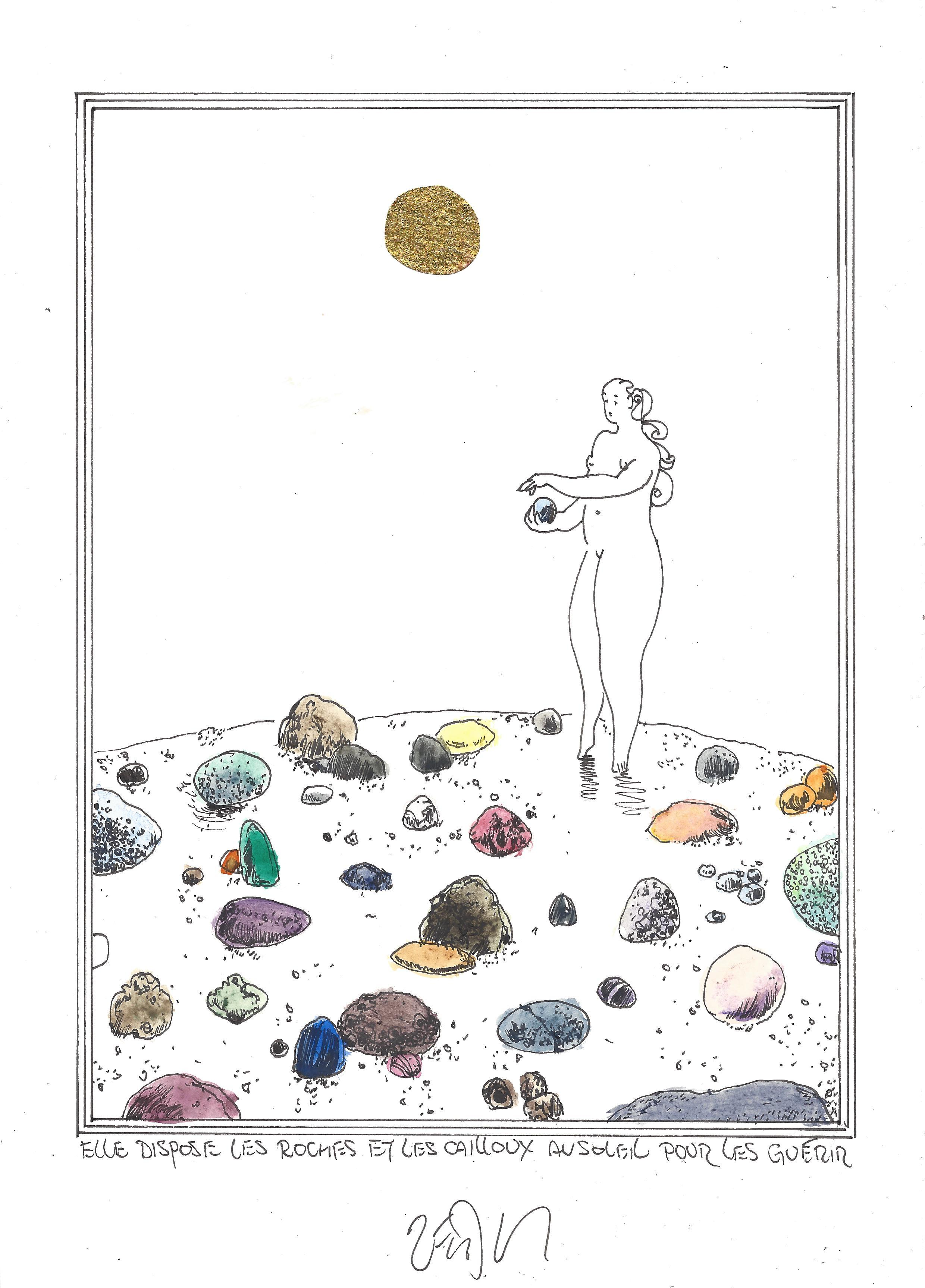 « Setting out rocks and stones in the sun to heal – Elle dispose les roches et les cailloux au soleil pour les guérir »