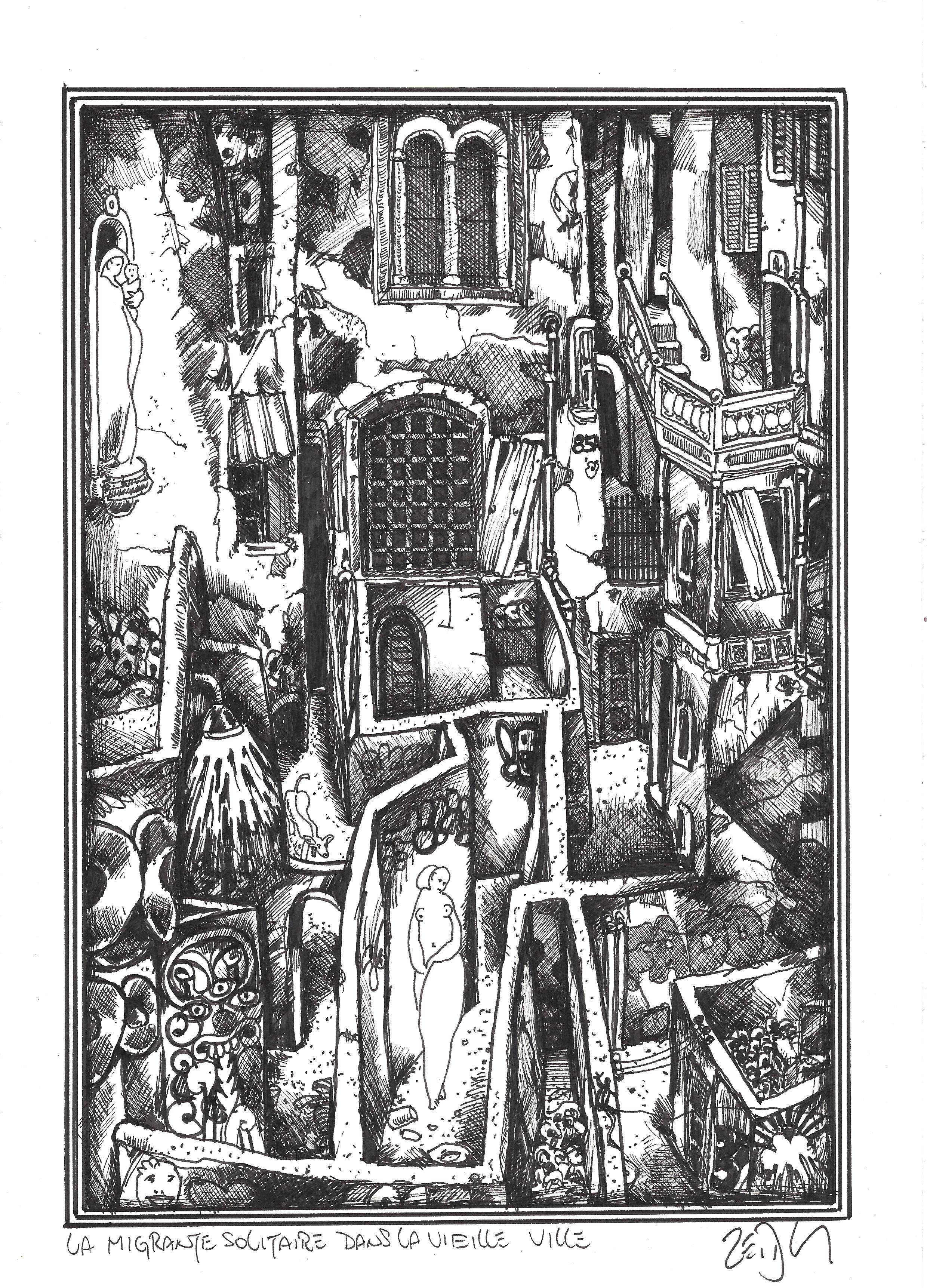 1544 The lone migrant in the old town – La migrante solitaire dans la vielle ville