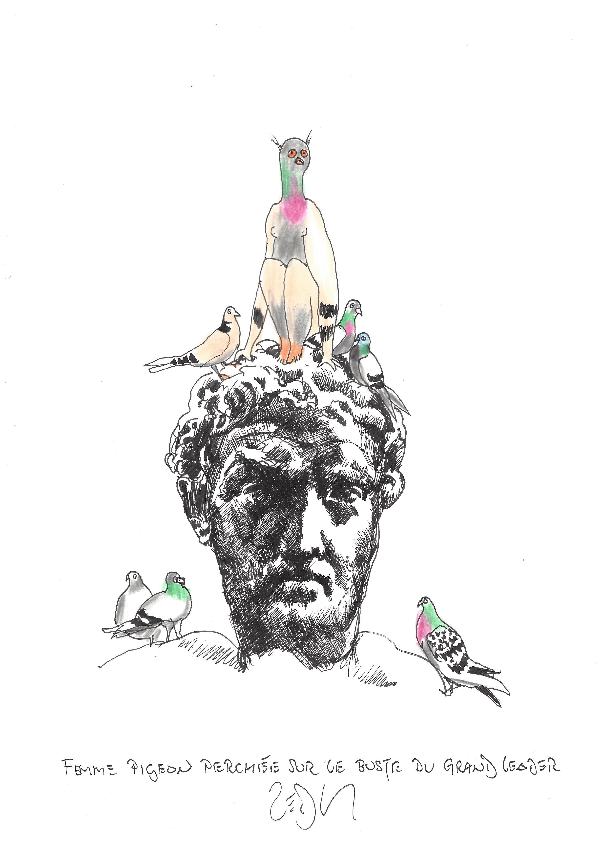 « Pigeon lady perches on the bust of the great leader – Femme pigeon perchee sur le buste du grand leader »